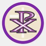 Símbolo cristiano etiquetas redondas