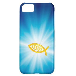 Símbolo cristiano JESÚS de los pescados en fondo a Funda Para iPhone 5C