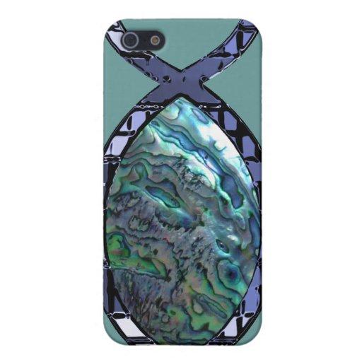 Símbolo cristiano radiante de los pescados iPhone 5 fundas