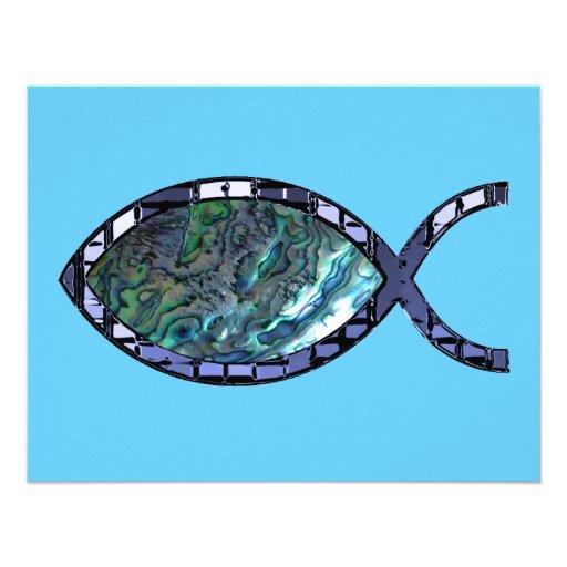 Símbolo cristiano radiante de los pescados invitacion personal