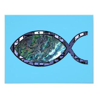 """Símbolo cristiano radiante de los pescados invitación 4.25"""" x 5.5"""""""