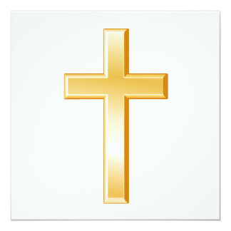 "Símbolo cruzado cristiano invitación 5.25"" x 5.25"""