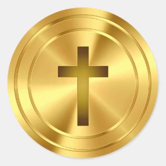 Símbolo cruzado cristiano - oro pegatinas redondas