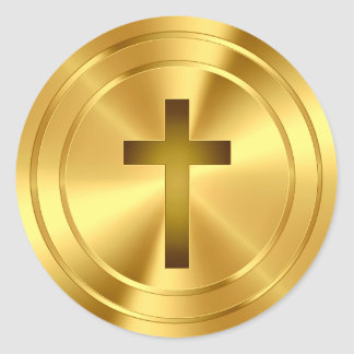 Símbolo cruzado cristiano - oro pegatina redonda