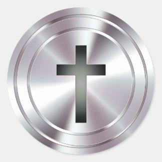 Símbolo cruzado cristiano - plata del cromo pegatina redonda