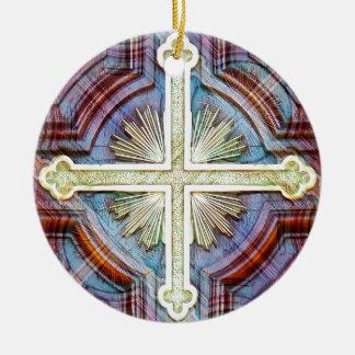 Símbolo cruzado cristiano religioso ornamento de navidad