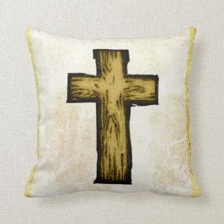 Símbolo cruzado de madera de Brown de la esperanza Cojín