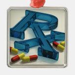 símbolo de 3D RX con las cápsulas Adorno Navideño Cuadrado De Metal