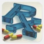 símbolo de 3D RX con las cápsulas Calcomanía Cuadradas Personalizadas