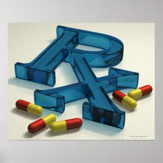 símbolo de 3D RX con las cápsulas Póster