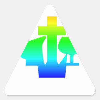 Símbolo de Alliance del cristiano y del misionario Pegatina Triangular