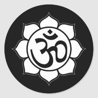 Símbolo de Aum de la flor de Lotus Etiqueta Redonda