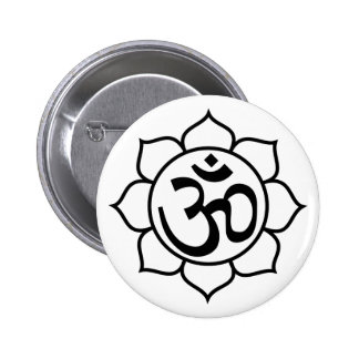 Símbolo de Aum de la flor de Lotus Pin Redondo 5 Cm