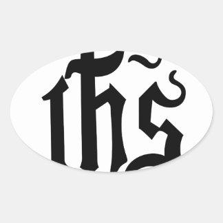 Símbolo de Cristo Pegatina Ovalada