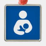 Símbolo de cuidado/de amamantamiento adorno cuadrado plateado