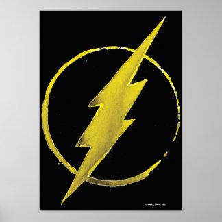 Símbolo de destello del café - amarillo póster
