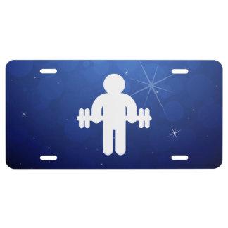 Símbolo de Dumbells del gimnasta Placa De Matrícula