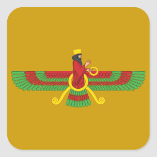 Símbolo de Faravahar Pegatina Cuadrada