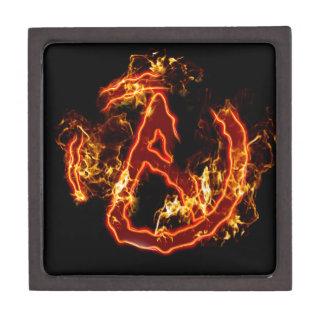 Símbolo de fuego ateo cajas de joyas de calidad