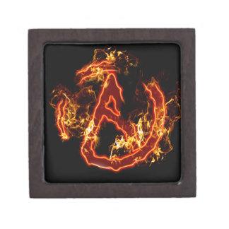 Símbolo de fuego ateo cajas de recuerdo de calidad