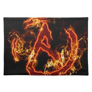 Símbolo de fuego ateo manteles
