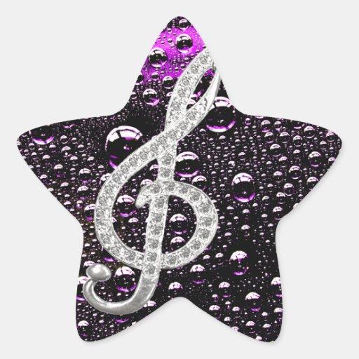 Símbolo de Gclef del piano con el bakcground de la Pegatina En Forma De Estrella