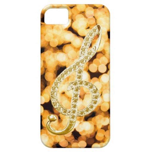 Símbolo de Gclef del piano del oro iPhone 5 Protectores
