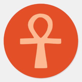 Símbolo de Kemetism (naranja) Pegatina Redonda
