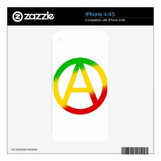 Símbolo de la anarquía de Rasta iPhone 4S Calcomanías