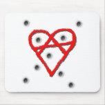 Símbolo de la anarquía del amor tapetes de ratón
