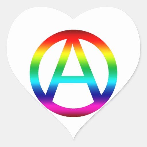 Símbolo de la anarquía del arco iris pegatinas de corazon