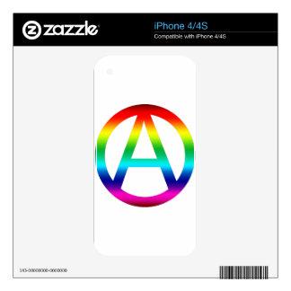 Símbolo de la anarquía del arco iris skins para eliPhone 4S