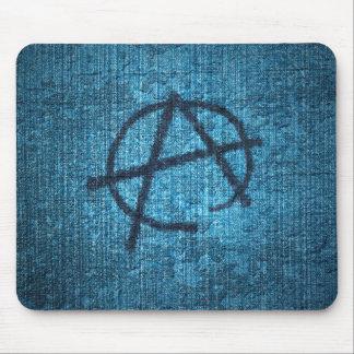 Símbolo de la anarquía en mousepad sucio azul de l tapetes de ratón