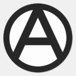 Símbolo de la anarquía pegatina redonda