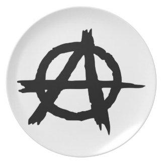 Símbolo de la anarquía platos de comidas