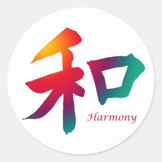 Símbolo de la armonía pegatina redonda