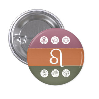 Símbolo de la astrología del zodiaco: Encanto de B Pin Redondo De 1 Pulgada