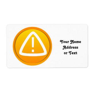 Símbolo de la atención de la precaución etiqueta de envío
