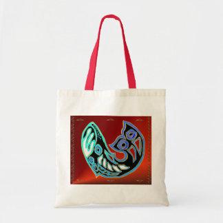Símbolo de la ballena en bolso rojo