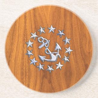 Símbolo de la bandera del yate en la impresión de posavaso para bebida