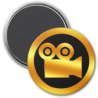 Símbolo de la cámara de película del oro imán redondo 7 cm