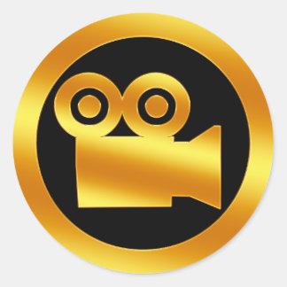 Símbolo de la cámara de película del oro pegatinas redondas