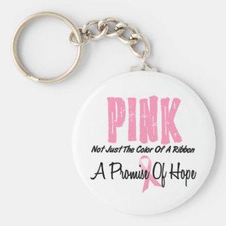 Símbolo de la cinta del rosa del cáncer de pecho d llavero redondo tipo pin