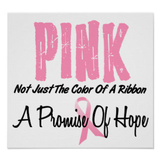 Símbolo de la cinta del rosa del cáncer de pecho d póster