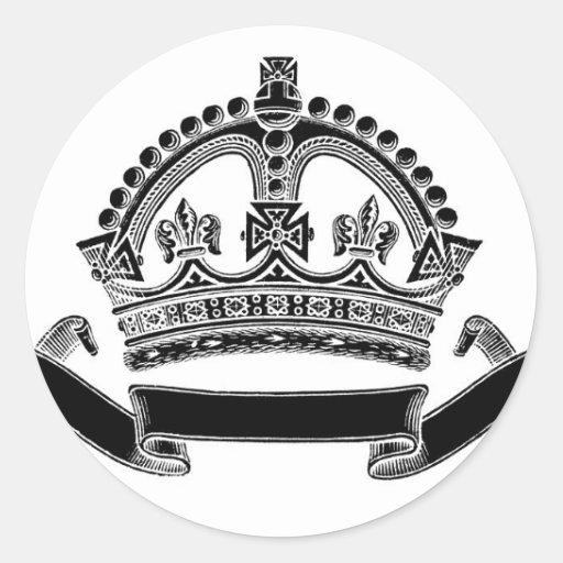 Símbolo de la corona y de la voluta pegatinas redondas