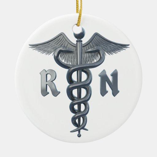 Símbolo de la enfermera registradoa adorno navideño redondo de cerámica
