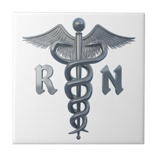 Símbolo de la enfermera registradoa azulejo cuadrado pequeño