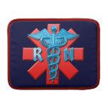 Símbolo de la enfermera registradoa fundas para macbook air