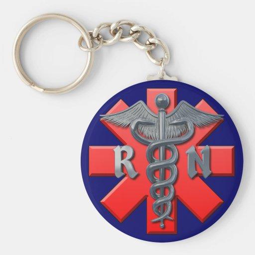 Símbolo de la enfermera registradoa llaveros personalizados