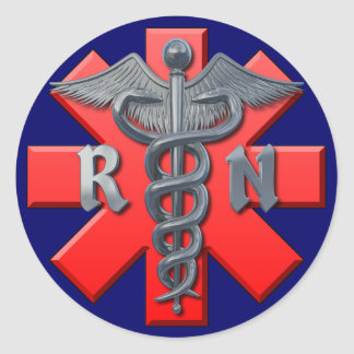 Símbolo de la enfermera registradoa pegatina redonda